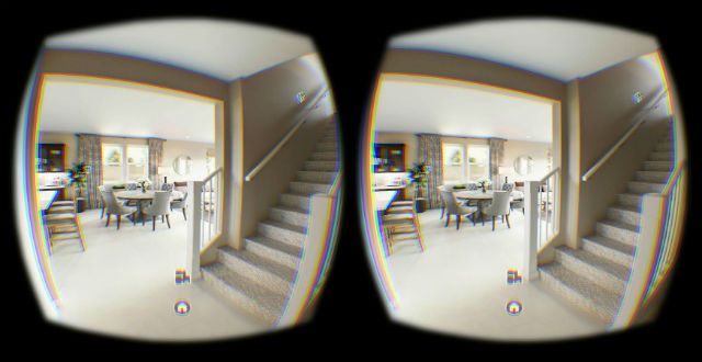 A closeup of stereo images of a home in virtual reality googles.