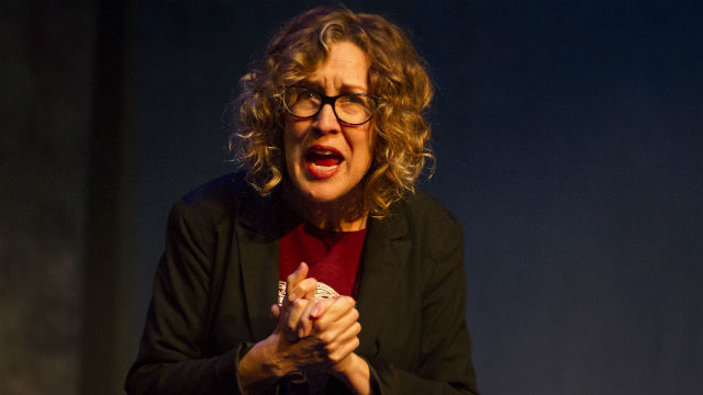 """Shana Wride in """"2.5 Minute Ride"""" at Diversionary Theatre."""