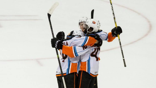 There were nine different Gulls on the scoresheet with Jhonas Enroth back in the win column. Photo courtesy San Diego Gulls.