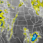 Infrared satellite photo at 8:15 a.m. shows massive storm over California. Courtesy National Weather Service