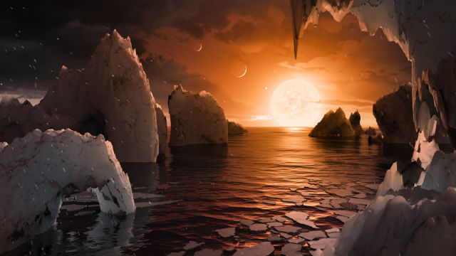 The possible surface of TRAPPIST-1f, one of the newly discovered planets in the TRAPPIST-1 system. Image courtesy NASA/JPL-Caltech
