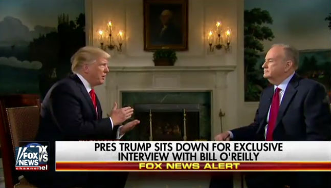 President Trump makes a point during the interview with Bill O'Reilly. Image from broadcast
