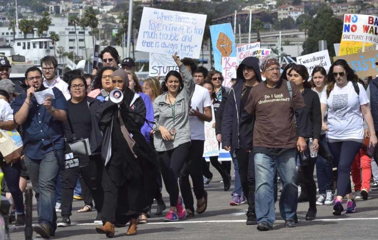 About 2,000 marchers way down Pacific Highway toward downtown San Diego. Photo by Chris Stone