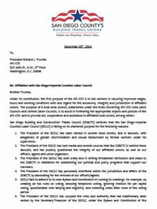 December 2016 letter from San Diego Building and Construction Trades Council to AFL-CIO President Richard Trumka (PDF)