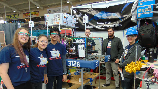 The Aluminum Narwhals from Canyon Crest Academy with their robot.