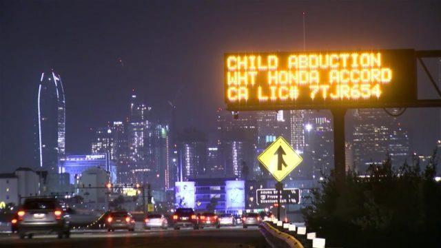 The Amber Alert on a freeway in Los Angeles Thursday night. Courtesy OnScene.TV