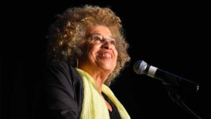 "Angela Davis said ""no human is illegal"" during Southwestern College talk. Photo by Chris Stone"