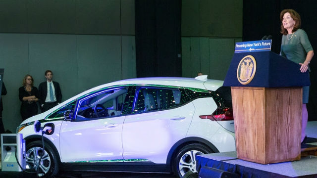 New York Lt. Governor Kathy Hochul announces the electric vehicle rebate program. Courtesy of the governor's office