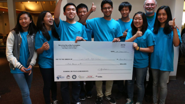 Del Norte High School students receive the grand prize of the SoCal Cyber Cup competition. Courtesy photo