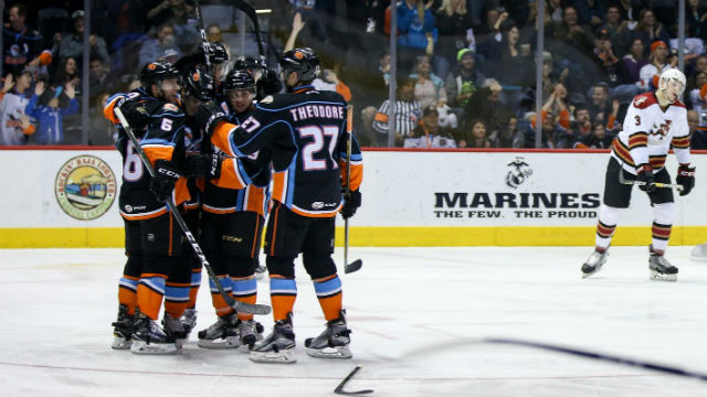 San Diego Gulls team members celebrate their victory over Tucson. Photo courtesy of the team