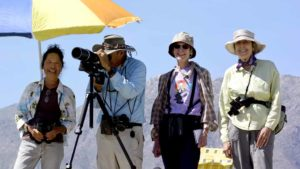 Anza-Borrego birders include (from left) Rose Leong, Hal Cohen and Jan Nevett. Photo by David Nevett