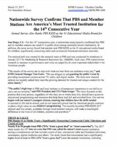 Recent press release from KPBS notes how public stations are top-rated for public trust. (PDF)