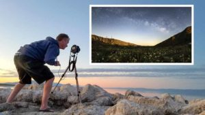 Kevin Key in Anza-Borrego Desert and with image from video. Photos via Kevin Key