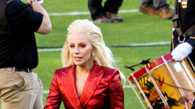 Lady Gaga at Super Bowl 50 in 2016. Photo via Wikimedia Commons