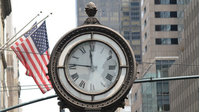 A street clock in New York City. Photo via Pixabay