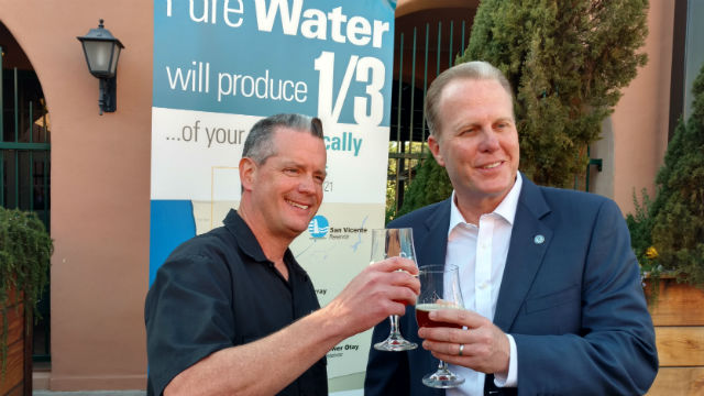 Stone Brewery's Pat Tiernan (left) with Mayor Kevin Faulconer. Photo by Chris Jennewein