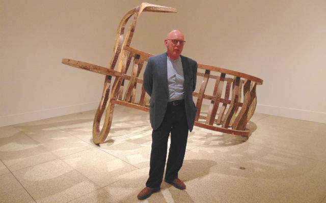 "Artist Richard Deacon with ""Fish Out of Water,"" created 1986-87. Photo by Chris Jenenwein"