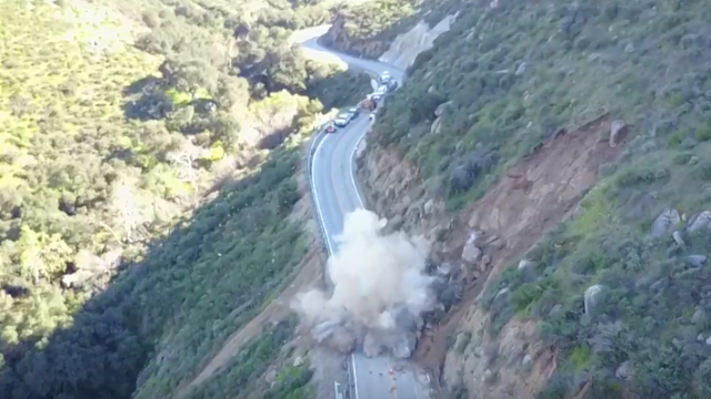 Smoke moments after the explosion. Courtesy Caltrans
