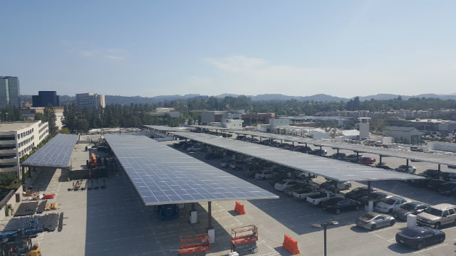 Solar panels in the parking lot of a California school. Courtesy Alta Energy