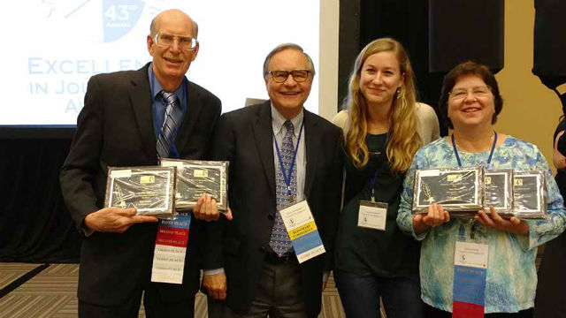 Times of San Diego staff members Ken Stone (left), Chris Jennewein, Cassia Pollock and Chris Stone at the 2017 Excellence in Journalism Awards sponsored by the San Diego Press Club. Photo by Pauline Repard
