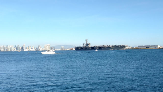 The USS Nimitz leaves San Diego late Wednesday afternoon. Photo by Chris Jennewein