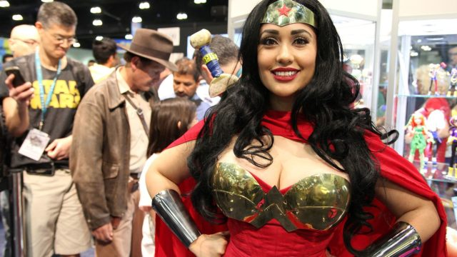 An attendee as Wonder Woman at WonderCon 2016. Photo by William Tung via Wikimedia Commons