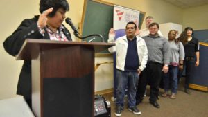 Councilwoman Georgette Gómez swore in new officers of San Diego Democrats for Equality.