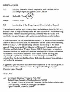 Richard Trumka letter to San Diego-Imperial Counties Labor Council and related memos. (PDF)