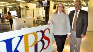 Nancy Worlie and Tom Karlo oversee KPBS and its news operations. Photo by Ken Stone