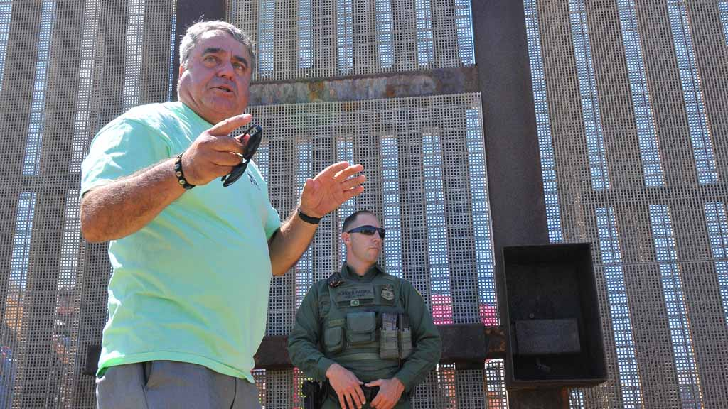 Enrique Morones at the border fence