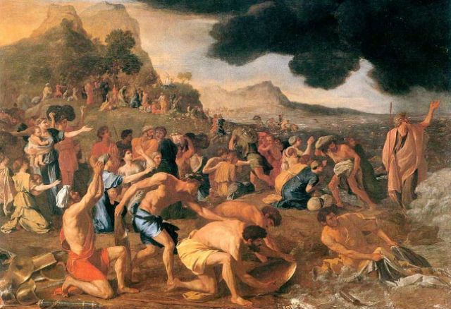 Hebrews crossing the Red Sea in Exodus. Painting by Nicolas Poussin (1594–1665) via Wikimedia Commons