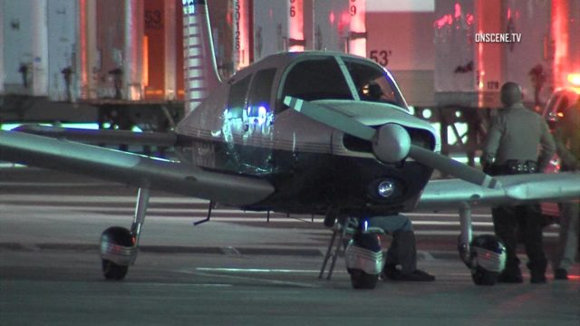 The aircraft after it's landing in a Whittier-area parking lot. Courtesy OnScene.TV