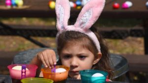 Hunter Krout of Lakeside, 3, colors eggs just before the Easter egg hunt at El Monte County Park in Lakeside. Photo by Chris Stone