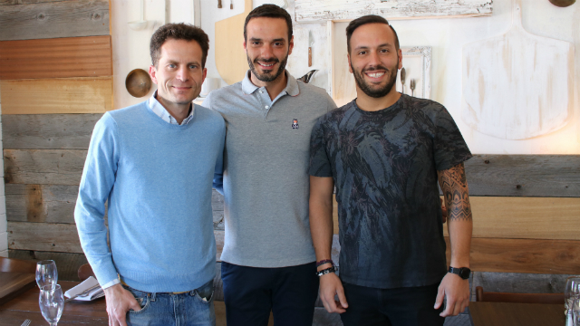 General manager Flavio Piromallo (left), vegan Owner Pietro Gallo (center) and with his brother and Owner Darrio Gallo (right). Photo by Cassia Pollock.