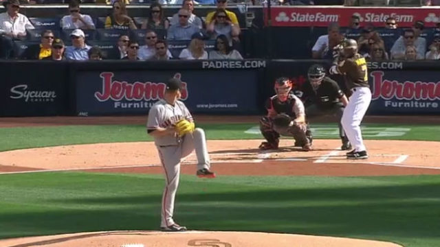 Manuel Margo prepares to bat at the Padres home opener. Image from MLB video