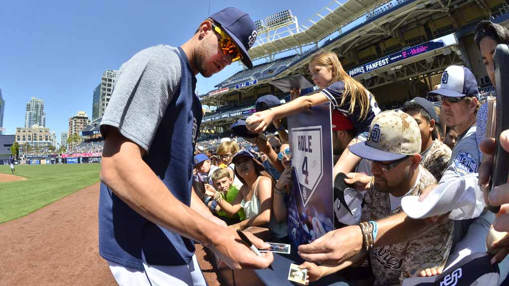 7b91d3d2f1c San Diego Padres star first baseman Wil Myers signs autographs for  enthusiastic fans. Photo by