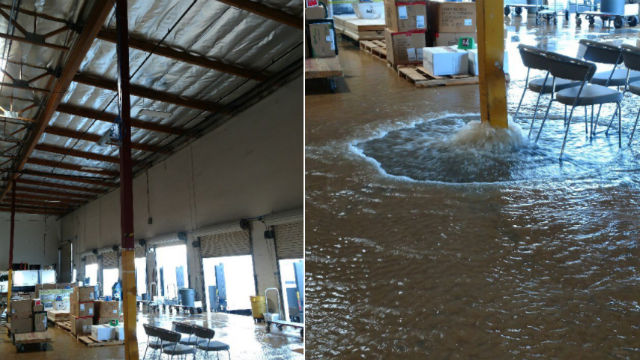 The scene of the water break with water gushing across the floor. Photo via BC J Fisher on SDFDu0027s twitter feed. & UC San Diego Warehouse Flooded by Water Pipe Break Under Slab ...