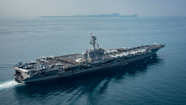 The aircraft carrier USS Carl Vinson in the Sunda Strait on April 15. Navy photo