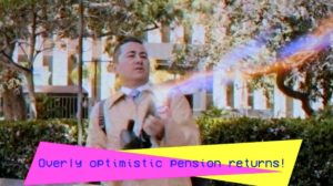"Councilman Chris Cate shoots his proton gun at the ghost ""Overly optimistic pension returns."" Image via YouTube.com"