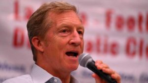 "Tom Steyer slammed the White House but cautioned against a ""Fortress California"" mind-set. Photo by Ken Stone"