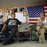 Deported U.S. military veterans Andy de Leon (left) and Alejandro Gomez Cortez in a support house in Tijuana. Photo by David Maung for CAL matters