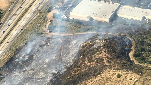 An aerial view of the Greenfield Fire along Interstate 8 in El Cajon. Courtesy Cal Fire