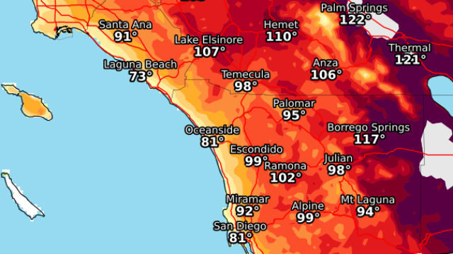 National Weather Service Map Shows The Maximum High Temperatures Expected During The Heat Wave