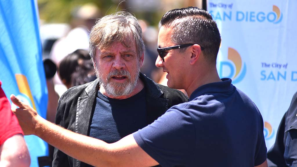 San Diego Councilman Chris Cate welcomes actor Mark Hamill.