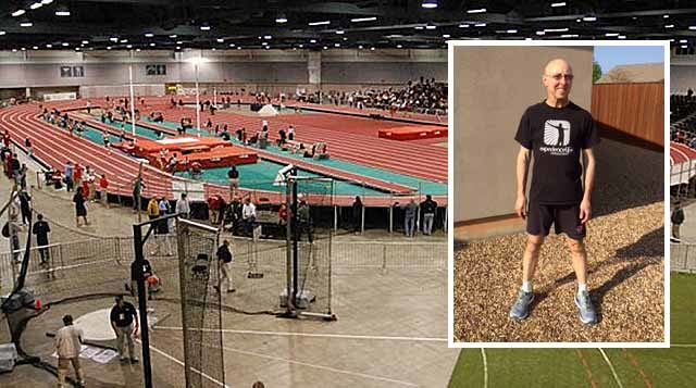 Scott McPherson (inset) tested positive for a banned drug at the USATF Masters Indoor Championships in Albuquerque (shown)