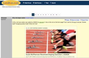 The popular letsrun.com bulletin board devotes 10 pages and dozens of comments to Scott McPherson's case.