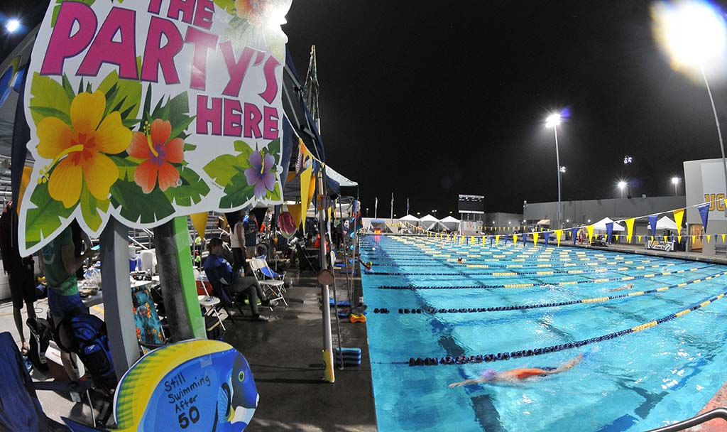 Masters swimmers celebrated the event like a 24-hour party