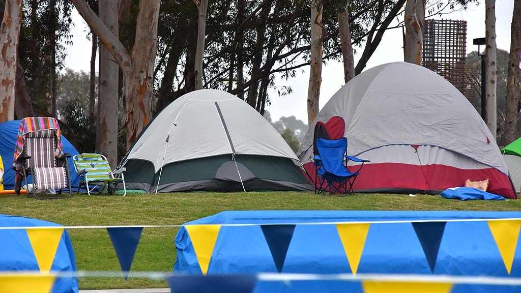 West of the swim complex, tents afforded swimmers a chance to rest during the long day.