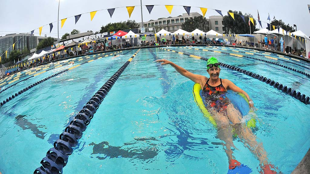 Floats and other swimming aids were allowed at the Swim24 Challenge at UC San Diego's Canyonview Aquatics Complex.