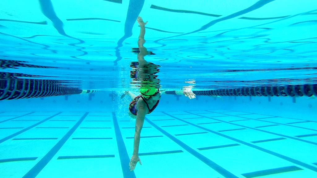 A GoPro shot captured a swimmer midstroke during Swim24 Challenge.